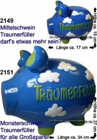 Sparschwein 3D Design Traumerfüller blau Keramik Marke KCG Größe wählen Maße ca.: L= 17 cm bis 34 cm - Bild vergrößern