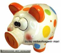 Sparschwein Rssel mit Punkten Farbe orange, Spardose & Schloss Mae ca.: L= 20cm - Bild vergrern 