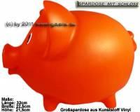 Sparschwein Groß Orange Vinyl Monsterschwein mit Spardosenschloss & Schlüssel Maße ca.: L= 32 cm - Bild vergrößern