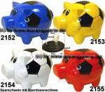 Sparschwein Felix Fußball Farbvariante auswählen mit Spardosenschloss Maße ca.: L= 12cm