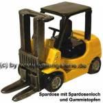 Gabelstapler gelb Spardose Kunststein mit herausnehmbaren Gummistopfen Neu Maße ca.: L= 18cm
