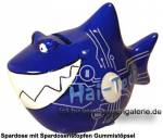 Spardose Spartier mit Beschriftung Hai-Tech Keramik Marke KCG Maße ca.: L= 14,5cm