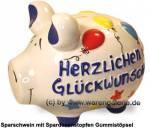 Sparschwein 3D Design Herzlichen Glückwunsch weiß mittelgroß Keramik Marke KCG Maße ca.: L= 17 cm