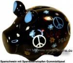 Sparschwein Hippie schwarz Keramik Marke KCG Maße ca.: L= 12,5cm