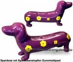 Spardose Spardackel  Mein Haus-Mein Auto-Mein Pferd lila Keramik Marke KCG Maße ca.: L= 29cm