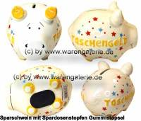 Sparschwein 3D Design Taschengeld weiß Keramik Marke KCG Maße ca.: L= 12,5 cm - Bild vergrößern