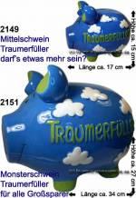 Traumerfüller Sparschweine Keramik KCG Größe wählen mit Spardosenstopfen Maße ca.: L= 17 bis 34cm