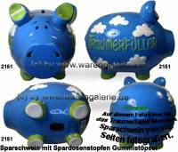 Traumerfüller Sparschweine Keramik KCG Größe wählen mit Spardosenstopfen Maße ca.: L= 17 bis 34cm - Bild vergrößern