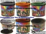 Ovalspardose Party Time Farbvariante auswählen mit Spardosenschloss & Schlüssel Maße ca.: B= 10 cm