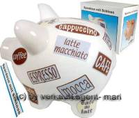 SPARSCHWEIN KAFFEEDEKOR 1 SPARDOSE Keramik Schlo Mae ca: 17cm  - Bild vergrern 