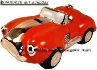 Spardose Auto Cabrio orange Keramik mit Spardosenschloss und Schlüssel Maße ca.: L= 20 cm - Bild vergrößern