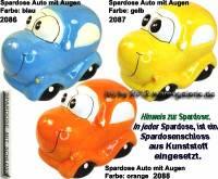 Spardose Auto mit Augen Keramik Farbvariante auswählen mit Spardosenschloss Maße ca.: L= 15,5 cm - Bild vergrößern