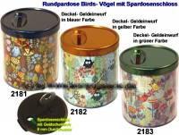 Rundpardose Birds- Vögel Farbvariante auswählen mit Spardosenschloss & Schlüssel Maße ca.: H= 8,5 cm - Bild vergrößern