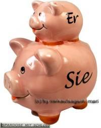 Sparschwein Er & Sie mit Beschriftung und Schloss Maße ca.: L= 12,5 cm ! Sonderverkauf ! 184a - Bild vergrößern