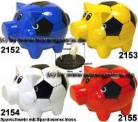 Sparschwein Felix Fußball Farbvariante auswählen mit großen Spardosenschloss Maße ca.: L= 12 cm - Bild vergrößern