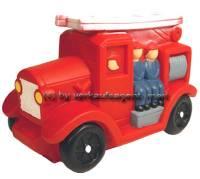 Spardose Feuerwehr Auto mit Spardosenschloss und Metall- Spardosenschlüssel Maße ca.: L= 17,5 cm - Bild vergrößern