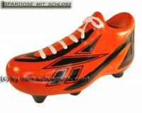 Spardose Fußballschuh orange Keramik mit Spardosenschloss & Schlüssel Maße ca.: L= 21 cm - Bild vergrößern