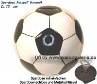 Spardose Fussball Keramik weiß / schwarz mit Spardosenschloss & Schlüssel Maße ca.: Ø= 13 cm - Bild vergrößern