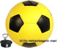 Spardose Fußball gelb/ schwarz mit Spardosenschloss und Spardosenschlüssel Maße ca.: Ø= 15,5 cm - Bild vergrößern