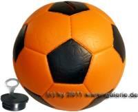 Spardose Fußball orange/ schwarz mit Spardosenschloss und Spardosenschlüssel Maße ca.: Ø= 15,5 cm - Bild vergrößern