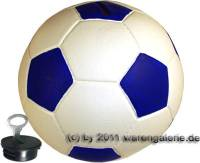 Spardose Fußball weiß/ blau mit Spardosenschloss und Spardosenschlüssel Maße ca.: Ø= 15,5 cm - Bild vergrößern