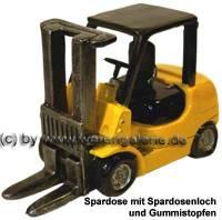 Gabelstapler gelb Spardose aus Kunststein mit einem herausnehmbaren Gummistopfen Maße ca.: L= 18 cm - Bild vergrößern