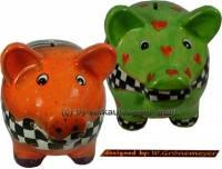 Sparschweinset ART- DESIGN 4 und 5 aus Keramik mit Spardosenschloss und Schlüssel Maße ca.: L= 17 cm - Bild vergrößern