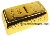 Spardose Goldbarren klein Keramik mit Spardosenschloss & Schlüssel Maße ca.: L= 16,5 cm - Bild vergrößern