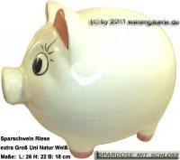 Sparschwein Riese extra Groß Dekor Uni weiß Keramik mit Spardosenschloss Maße ca.: L= 26 cm - Bild vergrößern