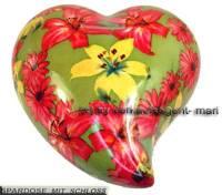 Herz Spardose Dekor Blumen bunt Keramik mit Spardosenschloss und Metallschlüssel Maße ca.: L= 19 cm - Bild vergrößern