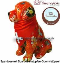 Spardose Spartier Hund Benno orange mit Hundehalstuch Keramik Marke Pomme Pidou Maße ca.: H= 19 cm - Bild vergrößern