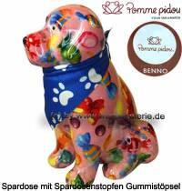 Spardose Spartier Hund Benno rosa mit Hundehalstuch Keramik Marke Pomme Pidou Maße ca.: H= 19 cm - Bild vergrößern