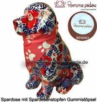 Spardose Spartier Hund Benno weißblau mit Hundehalstuch Keramik Marke Pomme Pidou Maße ca.: H= 19 cm - Bild vergrößern