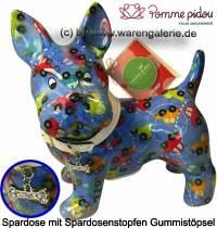 Spardose Spartier Hund Bommer blau Keramik Marke Pomme Pidou Maße ca.: L= 17,5 cm - Bild vergrößern