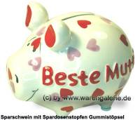 Sparschwein 3D Design Beste Mutti! weiß Keramik Marke KCG Maße ca.: L= 12,5 cm - Bild vergrößern