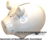 Sparschwein Blanko weiß ohne Beschriftung Keramik Marke KCG Maße ca.: L= 12,5 cm - Bild vergrößern