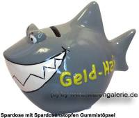Spardose Spartier 3D Design Geld-Hai Keramik Marke KCG Maße ca.: L= 14,5 cm  - Bild vergrößern