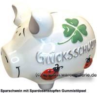 Sparschwein 3D Design Glücksschwein weiß mittelgroß Keramik Marke KCG Maße ca.: L= 17 cm - Bild vergrößern