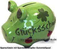 Sparschwein 3D Design Glücksschwein grün Keramik Marke KCG Maße ca.: L= 12,5 cm - Bild vergrößern