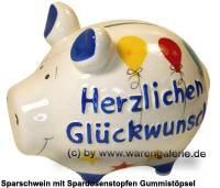 Sparschwein 3D Design Herzlichen Glückwunsch weiß Keramik Marke KCG Maße ca.: L= 12,5 cm - Bild vergrößern