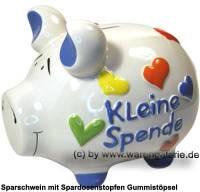 Sparschwein 3D Design Kleine Spende weiß mittelgroß Keramik Marke KCG Maße ca.: L= 17 cm - Bild vergrößern