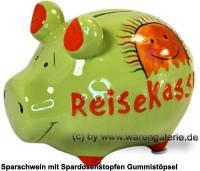 Sparschwein 3D Design Reisekasse grün Keramik Marke KCG Maße ca.: L= 12,5 cm - Bild vergrößern