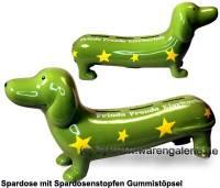 Spardose Spardackel grün - Friede - Freude - Eierkuchen - Keramik Marke KCG Maße ca.: L= 29 cm - Bild vergrößern