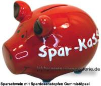 Sparschwein 3D Design Spar-Kasse rot Keramik Marke KCG Maße ca.: L= 12,5 cm - Bild vergrößern