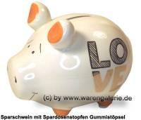 Sparschwein Dekor LOVE Goldedition weiß Keramik Marke KCG Maße ca.: L= 12,5 cm - Bild vergrößern