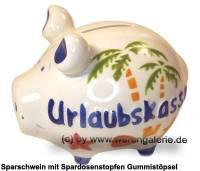Sparschwein 3D Design Urlaubskasse weiß Keramik Marke KCG Maße ca.: L= 12,5 cm - Bild vergrößern