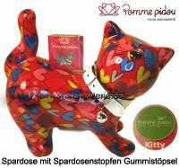 Spardose Spartier Katze Kitty rot mit bunten Herzen Keramik Marke Pomme Pidou Maße ca.: L= 19 cm - Bild vergrößern