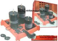 Orientales Kerzenset schwarz drei Kerzen schwarz einer roten Bambusplatte & Deko Maße ca.: H= 22 cm - Bild vergrößern