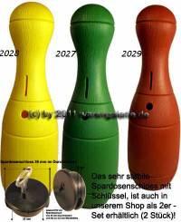 Kegelspardosen Farbvariante Kegel B auswählen mit Spardosenschloss und Schlüssel Maße ca.: H= 33 cm - Bild vergrößern