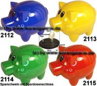 Sparschwein Felix Uni Farbvariante auswählen mit großen Spardosenschloss Maße ca.: L= 12 cm - Bild vergrößern